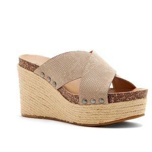 Lucky Brand Neeka Reptile Print Leather Wedges 10